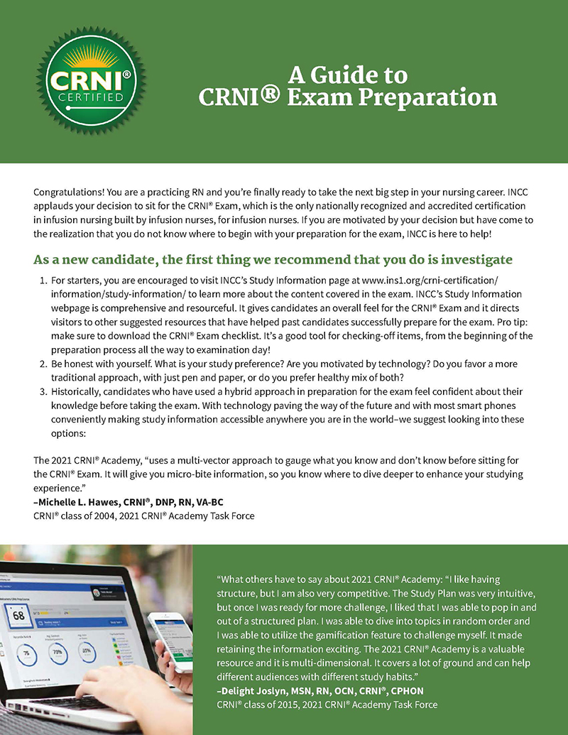 A Guide to CRNI<sup>®</sup> Exam Preparation