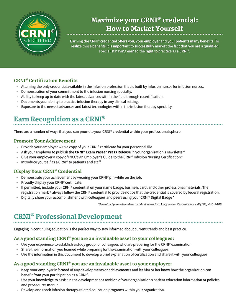 CRNI® Market Yourself