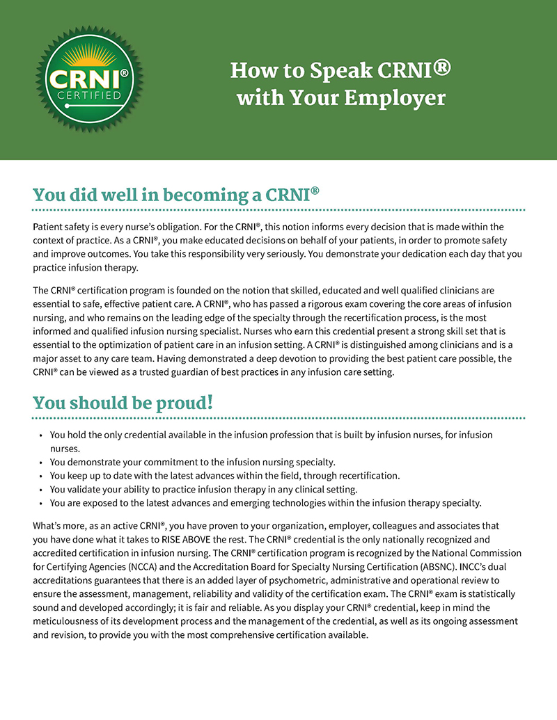 How to Speak CRNI® with Your Employer